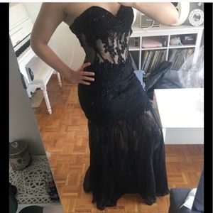 Jovani sheer corset mermaid prom gown dress